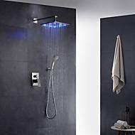 עכשווי ארט דקו / רטרו מודרני מותקן על הקיר LED מקלחת גשם ראש ברז נשלף with  שסתום פליז שני חורי ידית אחת for  כרום , ברז למקלחת