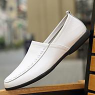 メンズ 靴 PUレザー 春 秋 コンフォートシューズ ローファー&スリップアドオン 用途 カジュアル ホワイト ブラック イエロー Brown