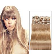 % 100 düz insan saçı 20inch 16inch saç uzantılarında 9 adet / set lüks 120g 18. bej sarı klip