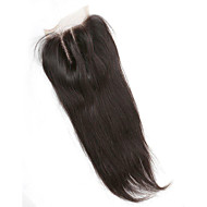 Brasiliansk silke rett bleket knuter menneskelig hår 130% tetthet 4x4 inchlace nedleggelse