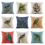 9 pçs Linho Fronha Almofada de Cama Almofada de Corpo Almofada de Vigem almofada do sofá,Floral Estampado Animal Vida Imóvel Estampas