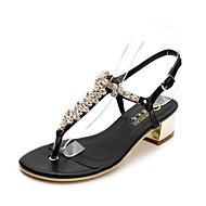 Damen-Sandalen-Lässig-PU-Blockabsatz-Fersenriemen-Weiß Schwarz Mandelfarben