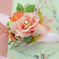 ウェディングブーケ ハンドタイド バラ リストブーケ 結婚式 パーティー ・夜 パーティー サテン チュール 3.15inch(約8cm)