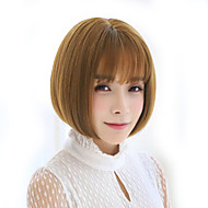 Women Synthetic Wig Capless Straight Brown With Bangs Natural Wig Costume Wigs