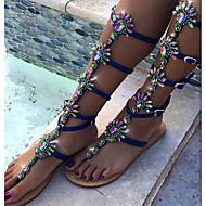 Women's Sandals Spring Summer Novelty PU Wedding Party & Evening Dress Flat Heel Rhinestone Flower Blue