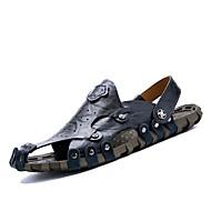 Muške Sandale Udobne cipele Koža Proljeće Ljeto Jesen Kauzalni Formalne prilike Cipele za vodu Crn Svjetlosmeđ 2.5 cm - 4.5 cm