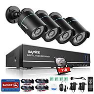 SANNCE® 8CH 4PCS 720P HD Camera 1080N DVR Weatherproof Surveillance Security CCTV System P2P 1TB