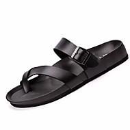 Herre-PU-Flat hæl Tykk hæl-T-rem-Tøfler og flip-flops-Fritid-Hvit Svart