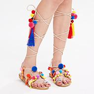 Sandály-Kůže-Pohodlné Gladiátorské-Dámské-Béžová-Kancelář Šaty Běžné-Plochá podrážka
