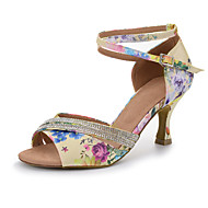 Women's Dance Shoes Satin Satin Latin Salsa Sandals Full Sole Heels Flared Heel Professional Indoor PerformanceBlack