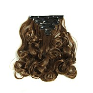 Hairpiece 17inch 160g 16 Clips 7pcst Synthetic Hair Extension Long Wavy Hair Clip In Hair Extensions Heat Resistant D1016 2/30#
