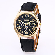 Unisex Fashion Watch Chinese Quartz Leather Band Charm Casual Black White Red Brown Green Pink Purple Navy