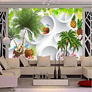 Árvores/Folhas Art Deco Papel de Parede Para Casa Contemporâneo Revestimento de paredes , Tela Material adesivo necessário Mural ,