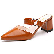 Women's Sandals Comfort PU Summer Casual Walking Comfort Hollow-out Chunky Heel White Black Light Brown 3in-3 3/4in