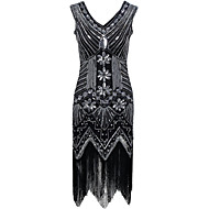 Cocktail Party Dress - Sparkle & Shine Sexy Sheath / Column V-neck Asymmetrical Polyester with Sequins