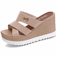 Damen Slippers & Flip-Flops Sandalen Komfort PU Sommer Normal Walking Komfort Ausgehöhlt Keilabsatz Schwarz Beige Rosa 7,5 - 9,5 cm