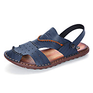 Men's Slippers & Flip-Flops Toe Ring Light Soles Leatherette Spring Summer Casual Khaki Blue Brown Flat