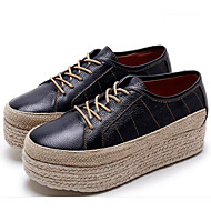 Damen Loafers & Slip-Ons Komfort Leder Frühling Herbst Normal Komfort Creepers Schwarz 5 - 7 cm
