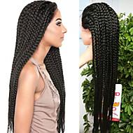 Vrouw Lang Zwart Haar Afrikaanse Braids Natuurlijke haarlijn Gevlochten Pruik Synthetisch haar Kanten VoorkantCarnaval Pruik Natuurlijke
