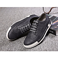 Men's Sneakers Comfort Real Leather Tulle Spring Fall Casual Comfort Black Yellow Dark Grey Light Grey Light Brown Flat
