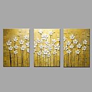 Peint à la main A fleurs/Botanique Horizontale,Moderne Pastoral Trois Panneaux Toile Peinture à l'huile Hang-peint For Décoration
