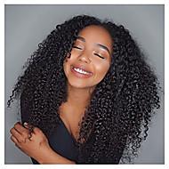 Žene Perike s ljudskom kosom Ljudska kosa Lace Front Perika s prednjom čipkom bez ljepila 130% Gustoća Afro Perika Boja gagata Crna