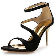 """נשים סנדלים חדשני נעלי מועדון סינטתי משי אביב קיץ משרד ועבודה שמלה מסיבה וערב עקב סטילטו לבן שחור כתום ס""""מ 7.6 - ס""""מ 9.50"""