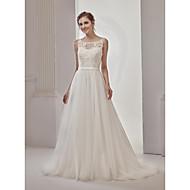 A-라인 웨딩 드레스 시쓰루 코트 트레인 라운드 넥 그물 명주 레이스 100 % 폴리 에스테르 와 아플리케 비즈 레이스