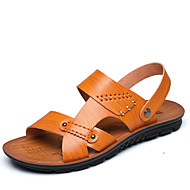 Men's Sandals Comfort Leather Spring Summer Fall Winter Casual Outdoor Office & Career Walking Comfort Rivet Flat Heel Black Brown Khaki