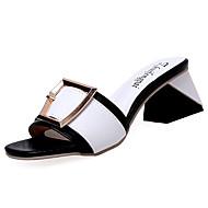 Feminino Sapatos Borracha Verão Conforto Sandálias Caminhada Salto de bloco Para Preto Rosa claro