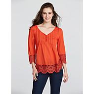 Tee-shirt Femme,Couleur Pleine Décontracté / Quotidien Sexy simple Automne Hiver Manches ¾ Col en V Bleu Rose Noir Vert Orange Coton Moyen