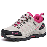 Women's Athletic Shoes Comfort  Suede Spring Fall Athletic Outdoor clothing Flat Heel Fuchsia Gray  Hiking Shoes