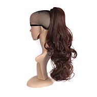 Middels brun lang bølgete hestehale syntetiske kvinner klo på hestehale klippe i pony tail hårforlengelser rett stil hårstykke