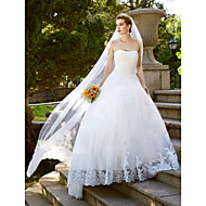 LAN TING BRIDE A-line Wedding Dress Open Back Floor-length Strapless Lace Tulle with Lace