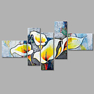 Hand-Painted Abstract Lily Floral Modern Five Panels Canvas Oil Painting For Home Decoration
