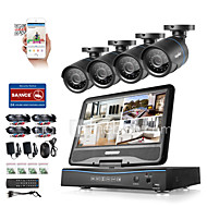 Sannce® 8ch 4pcs 720p lcd dvr supraveghere intemperii sistem de securitate suportat analog ahd tvi ip camera