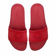 Dame Tøfler og flip-flops PU Vår Svart Rød Blå Flat