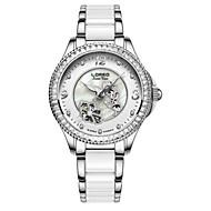 Dames Modieus horloge mechanische horloges Automatisch opwindmechanisme Waterbestendig Keramiek Band Wit