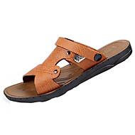 Herre Tøfler og flip-flops Komfort PU Sommer Komfort Flat hæl Blå Lysebrun Mørkebrun Flat