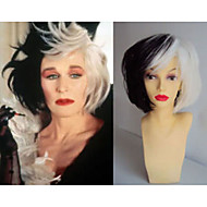 Deluxe Cruella Deville Voluminous Short Bob Costume Cos Wig Hair Heat Resistant