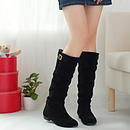 Women's Boots Fleece Fall Winter Flat Heel Black Yellow Dark Brown Flat
