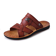 Men's Sandals Comfort Leatherette Spring Casual Screen Color Khaki Brown Flat