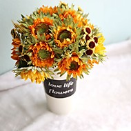 1 Větev Polyester Slunečnice Květina na stůl Umělé květiny
