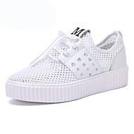 """נשים נעלי ספורט טול קיץ הליכה שרוכים פלטפורמה לבן אפור ורוד ס""""מ 10 - ס""""מ 12"""