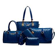 Mulher Bolsas Todas as Estações Couro de Gado Conjuntos de saco com para Casual Preto Bege Azul Champanhe