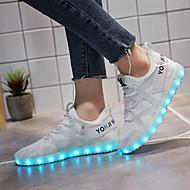 Női Tornacipők Könnyű talpak Világító cipők Tüll Tavasz Ősz Sport Hétköznapi Gyalogló Könnyű talpak Világító cipők Fűző AlacsonyFehér