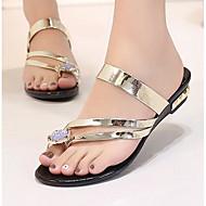 Naiset Kengät PU Kesä Comfort Tasapohjakengät Käyttötarkoitus Kausaliteetti Kulta Musta Hopea