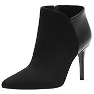 Dámské Boty Módní obuv Kotníčkové Kůže Samet Nappa Leather Podzim Zima Party Módní obuv Kotníčkové Zip Vysoký Černá 5 - 7 cm
