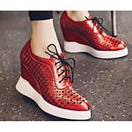 Feminino Sapatos Malha Respirável Couro Ecológico Primavera Verão Conforto Tênis Para Casual Preto Prata Vermelho