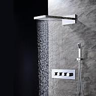 עכשווי מותקן על הקיר מפל מים מקלחת גשם שפורפרת יד כלולה with  שסתום קרמי שלושה חורים ארבעה מטפל בשלושה חורים for  כרום , ברז למקלחת